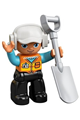 Duplo Figure Lego Ville, Male, Black Legs, Orange Vest with Badge and Pocket, Medium Azure Arms, White Cap with Headset - 47394pb288