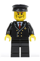 Airport Pilot with Red Tie and 6 Buttons, Black Legs, Black Hat, Vertical Cheek Lines - air043