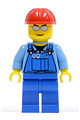 Overalls with Tools in Pocket Blue, Red Construction Helmet, Silver Sunglasses - cty0029