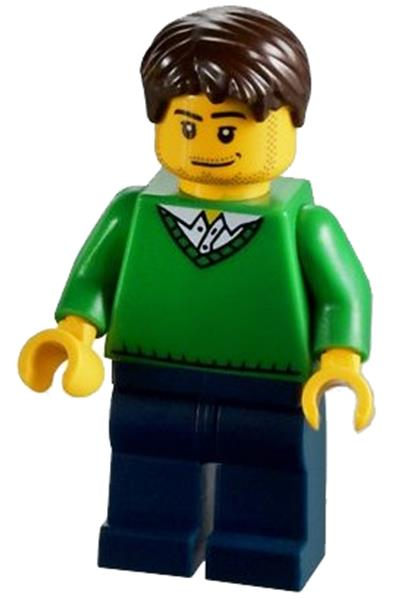 City Lego Minifigures Green V-Neck Sweater cty0261
