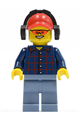 Plaid Button Shirt, Sand Blue Legs, Red Cap with Hole, Headphones - cty0466