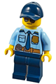 Police - City Officer Shirt with Dark Blue Tie and Gold Badge, Dark Tan Belt with Radio, Dark Blue Legs, Dark Blue Cap, Sunglasses - cty0981