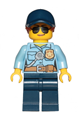 Police - City Officer Female, Bright Light Blue Shirt with Badge and Radio, Dark Blue Legs, Dark Blue Cap with Dark Orange Ponytail, Sunglasses - cty1090