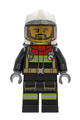 Fire - Reflective Stripes, Black Legs and Jacket with Dark Red Collar, Fire Helmet, Trans-Black Visor, Black Beard - cty1251