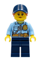 Police - City Officer Female, Bright Light Blue Shirt with Badge and Radio, Dark Blue Legs, Dark Blue Cap with Dark Orange Ponytail, Pensive Smile - cty1258