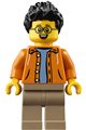 Man, Black Spiky Hair, Glasses, Orange Jacket, Sand Blue Shirt, Dark Tan Legs - hol185