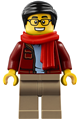 Man, Black Hair, Glasses, Red Scarf, Dark Red Jacket, Sand Blue Shirt, Dark Tan Legs - hol187