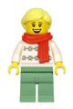 Woman, White Turtleneck Sweater, Sand Green Legs, Bright Light Yellow Hair, Red Scarf - hol216