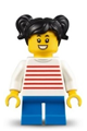 LEGOLAND Park Girl with Black Two Pigtails Hair, White Sweater with Red Horizontal Stripes, Blue Short Legs - llp018