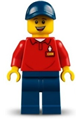 LEGOLAND Park Worker Male, Smiling, Dark Blue Hat, Red Polo Shirt with 'LEGOLAND' on Back and Dark Blue Legs - llp019