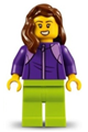 LEGOLAND Park Female with Reddish Brown Mid-Length Hair, Dark Purple Tracksuit, Lime Legs - llp020