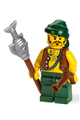 Pirate with Vest and Anchor Tattoo, Dark Green Legs, Dark Green Bandana, Brown Moustache - pi095