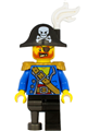Pirate Captain with bicorne hat with skull and white plume, pearl gold epaulette, blue open jacket, black leg and pearl dark gray peg leg - pi185