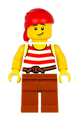 Pirate with red head wrap, white shirt with red stripes and dark orange legs - pi187