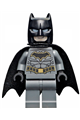 Batman with a dark bluish gray suit with gold outline belt and crest and mask and cape - sh589a