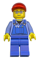 Overalls with Tools in Pocket, Blue Legs, Red Short Bill Cap, Glasses with Brown Thin Eyebrows - trn227