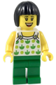 Female, Black Short Hair, White Top with Green Apples and Lime Dots, Green Legs (Ludo Green) - twn350