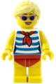 Female with Blond Hair, Medium Lavender Sunglasses, Red Scarf, Blue Striped Shirt, Red Swimsuit (Yellow Ludo) - twn352