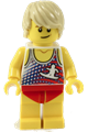 Male with Tan Hair, Tank Top with White Surfur Logo, Red Swimsuit (Ludo Yellow) - twn353