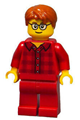 Male with Dark Orange Hair, Glasses, Red Flannel Shirt, Red Legs (Ludo Red) - twn355