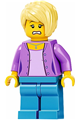 Female with Medium Lavender Jacket, Medium Blue Legs, Bright Light Yellow Hair - twn394