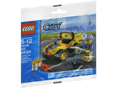 2012 LEGO Set 30152 City MINING QUAD VEHICLE Construction Worker Minifig Polybag
